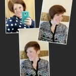 Client at Shear Artistry in New Holland, PA with before and after photos of short red hair