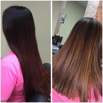 Client with dark hair and light highlights at Shear Artistry in New Holland, PA